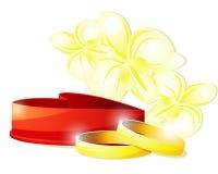 Wedding rings and box Royalty Free Stock Image