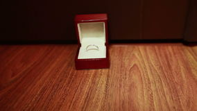 Wedding rings in a box stock footage
