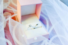 Wedding rings in the box Stock Photos