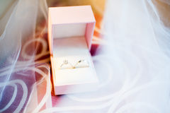 Wedding rings in the box Stock Photography