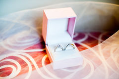 Wedding rings in the box Royalty Free Stock Photos