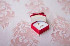 Wedding rings in box Stock Photos