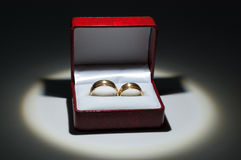 Wedding Rings in a box. Gold Wedding Ring in spotlight in a box Royalty Free Stock Photography