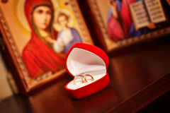 Wedding rings, Wedding background. Wedding rings in a box with icons, Wedding background Stock Image