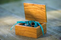 Wedding rings in a box royalty free stock image