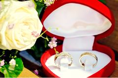 Wedding rings in the boxes Royalty Free Stock Image