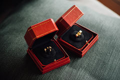 Wedding rings in boxes Royalty Free Stock Image