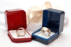 Wedding rings in boxes Stock Image