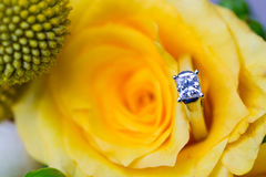 Wedding Rings on Bridal Bouquet Stock Photos