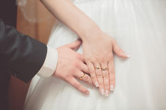 Wedding rings bridal  lovers shoes Stock Photo