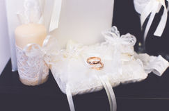 Wedding rings bridal  lovers shoes Royalty Free Stock Images