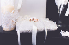 Wedding rings bridal  lovers shoes Royalty Free Stock Image