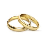 Wedding Rings Bridal Set Realistic Image. Two matching bridal wedding or engagement traditional gold rings set jewelry advertisement icon realistic vector Royalty Free Stock Photo