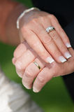 Wedding rings on bride and groom Stock Image