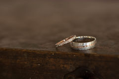 Wedding rings. For bride and groom Stock Photos