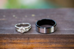 Wedding Rings of the Bride and Groom Stock Images