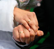 Wedding rings bride and groom. wedding rings. loving couple with wedding rings in hands. Stock Image