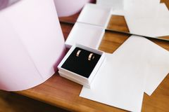 Wedding rings of the bride and groom are in a wooden box royalty free stock photography