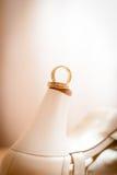 Wedding rings. On bride heel shoe Stock Photography