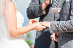 Wedding rings. A bride puts the ring on the groom at a wedding ceremony Stock Photo