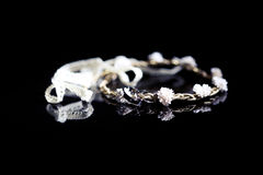 Wedding rings on a bride's chain Royalty Free Stock Image