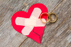 Wedding rings and broken heart Royalty Free Stock Image