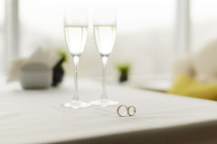 Wedding Rings in Cafe Stock Photos
