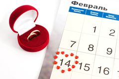 Wedding rings on the calendar, Valentine's Day Royalty Free Stock Photography
