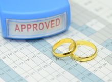 Wedding Rings on Calender Stock Photography