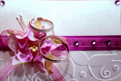 Wedding rings, card, invitation Royalty Free Stock Photos