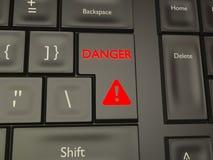 Danger button on a black keyboard vector illustration