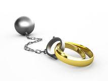 Wedding rings chained in shackles Stock Photography