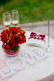 Wedding rings and champagne Royalty Free Stock Images