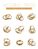 Wedding rings champagne gold half round style compose design. Illustration 3d set and shadow isolated on white background, vector eps10 vector illustration