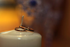 Wedding Rings on a  chandle Royalty Free Stock Photos
