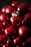 Wedding rings on Christmas ornaments Stock Photos