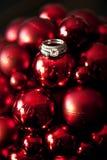 Wedding rings on Christmas ornaments Stock Photos