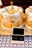 Wedding Rings at Church Stock Image