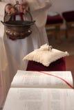 Wedding rings in church Royalty Free Stock Photos