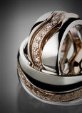 Wedding rings close up. A pair of wedding bands by precious materials Stock Photos
