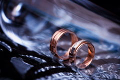 Wedding rings close-up stock image
