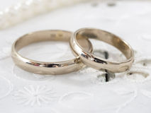 Wedding rings. Close up of the wedding rings on bright  background Stock Photography