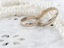 Wedding rings. Close up of the wedding rings  with luxury decoration Stock Photos