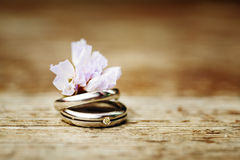 Wedding rings close up in rustic style Royalty Free Stock Photo