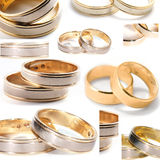 Wedding rings collage Stock Photos