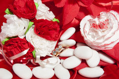 Wedding rings on colorful fabric Royalty Free Stock Photos