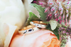 Wedding rings in colorful flowers Royalty Free Stock Photos