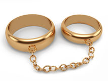 Wedding rings connected chain royalty free illustration