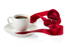 Wedding rings cups of coffee Royalty Free Stock Photos