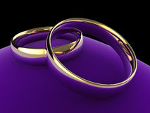 Wedding rings on cushion Stock Photography
